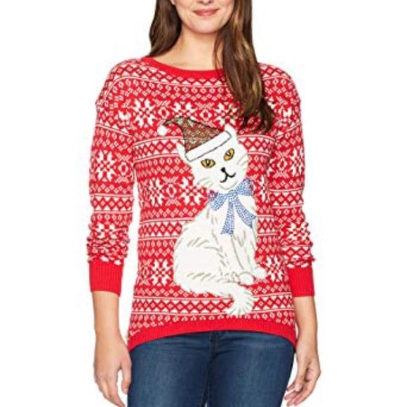 fe93b05b Isabella's Closet Women's Cat Ugly XMas Sweater. M_5bc6e891df03072113a9d1cd